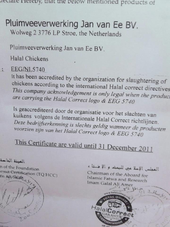 Jan van Ee BV slacht niet meer halal